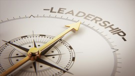 Compass pointing towards leadership