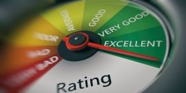 An illustration of a rating meter showing grades from bad to excellent, with the pointer indicating excellent.